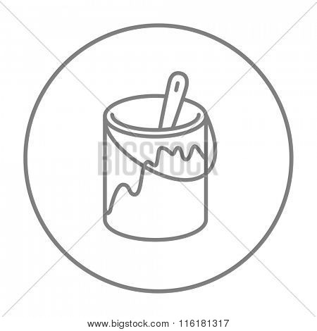 Paint brush in the paint tin line icon.