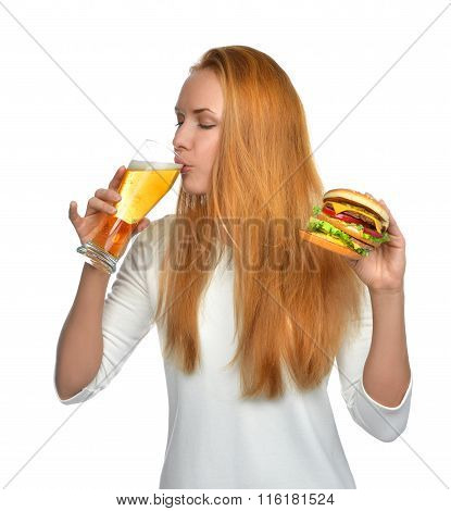 Woman With Lager Beer Mug And Burger Sandwich Hamburger In Hands