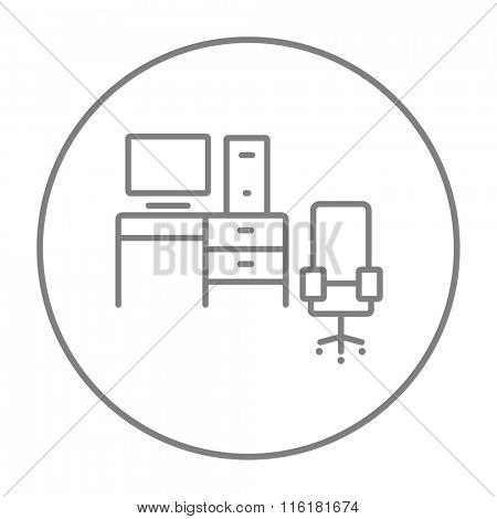 Computer set with table and chair line icon.