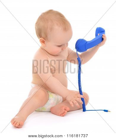 Infant Child Baby Girl Kid Toddler Playing Calling By Phone