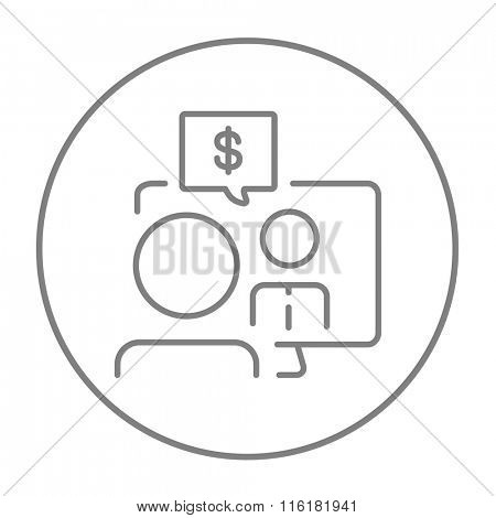 Business video negotiations line icon.