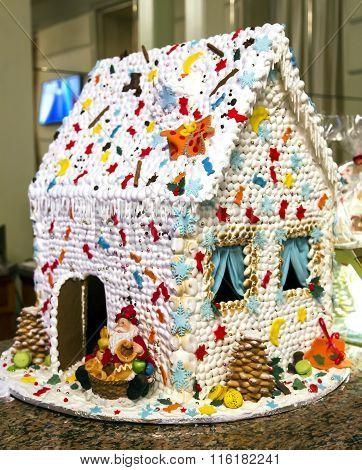 White Xmas homemade Gingerbread house