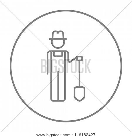 Farmer with shovel line icon.