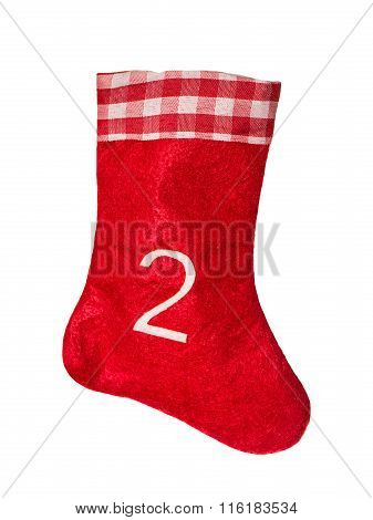 Red Christmas Sock For Gifts. Stocking. Advent Symbol
