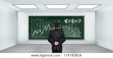 Businessman Looking On Drawing Stock Chart