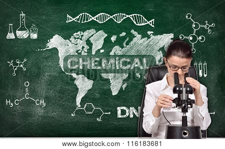 Woman Scientist Studying The Chemical Sample