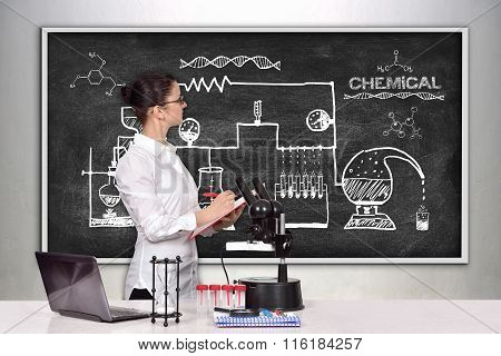 Female Scientist Looking On Scheme Chemical Reaction