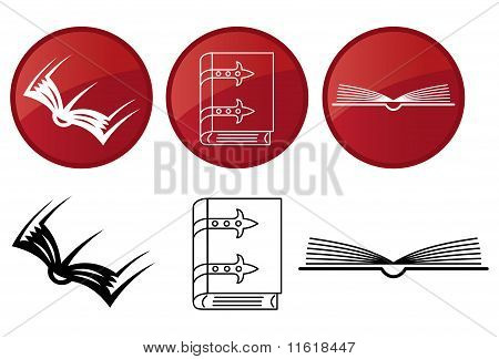 Bücher, Vector Icons Set.
