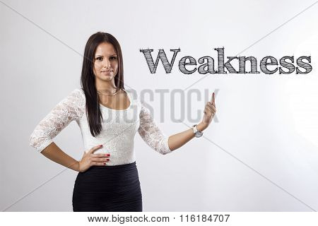 Weakness - Beautiful Businesswoman Pointing
