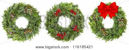 Christmas Wreath With Cones Red Berries Ribbon Bow