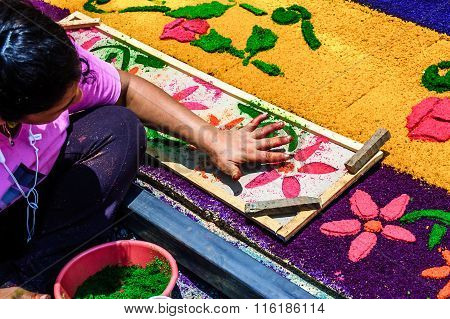 Girl Making Holy Week Processional Carpet, Antigua, Guatemala