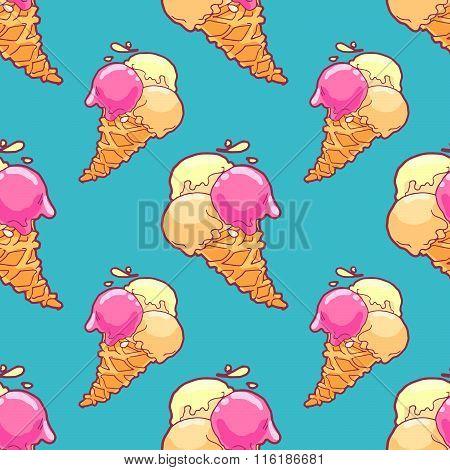 Blue Ice-cream Pattern