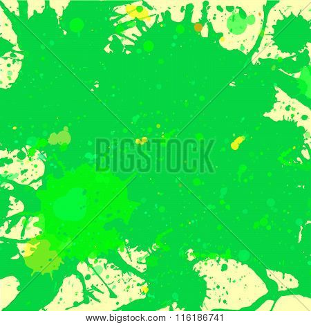Green Watercolor Paint Splashes Background