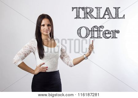 Trial Offer -  Beautiful Businesswoman Pointing