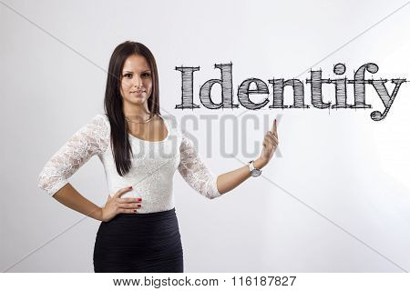 Identify - Beautiful Businesswoman Pointing