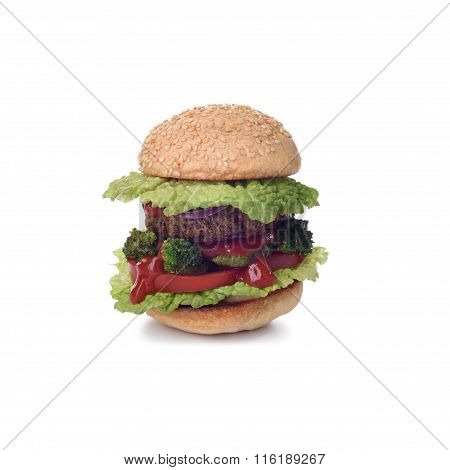 Isolated burger with broccoli, meat patty, onion and tomato ketchup.