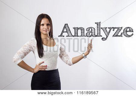 Analyze - Beautiful Businesswoman Pointing