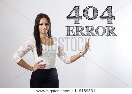 404 Error! - Beautiful Businesswoman Pointing