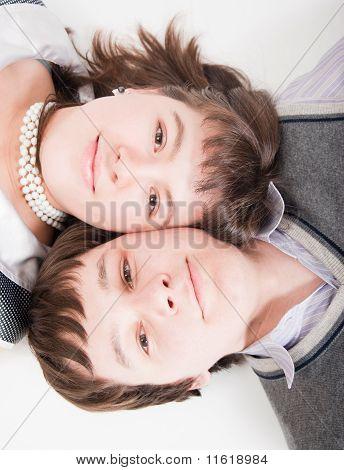 Portrait Beautiful Men And Women Close Up