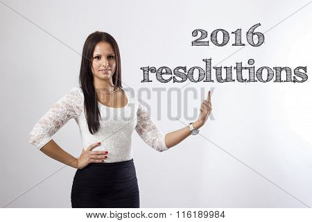 2016 Resolutions - Beautiful Businesswoman Pointing