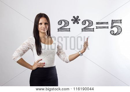 2X2 Equal 5 - Beautiful Businesswoman Pointing