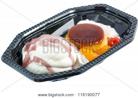 Ice Cream Mix Pudding With Fruit Delicious On White Background.