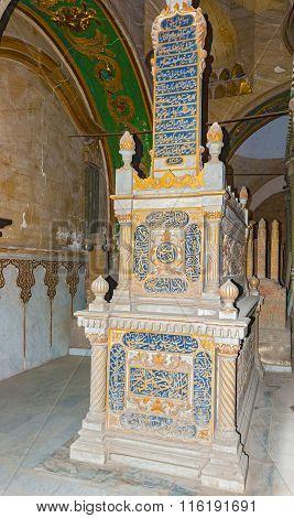 Cairo, Egypt - January 6, 2015: Tombs of Mamelukes City of Dead Historic Cairo UNESCO World Heritage List Egypt. The Tombs of Mohammad Ali's Family.
