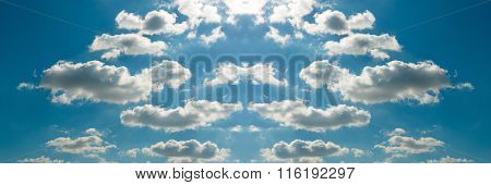 Beautiful Bright Panorama Sky Blue Background.