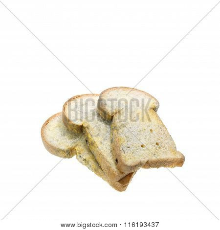 Stack Of Moldy Bread Isolated On White Background