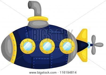 Cute Dark Blue Submarine