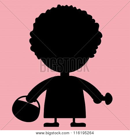 The Grandmother's Silhouette Illustration With A Basket And Mushrooms