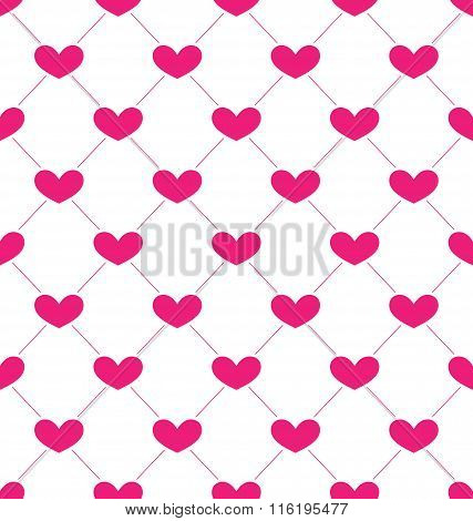Pink Seamless Pattern with Hearts for Valentines Day