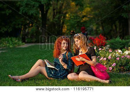 Girlfriends Sitting On Grass In Park.