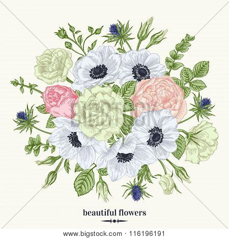 Card With A Bouquet.