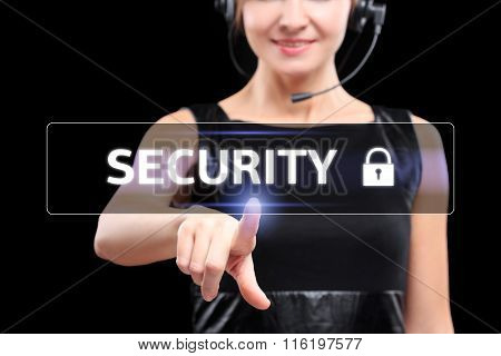 business, networking concept - businessman pressing cyber security button on virtual screens