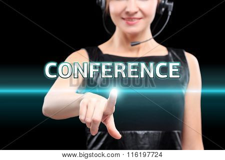 businesswoman, Focus on hand pressing conference button. virtual screens, technology, internet conce