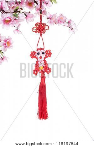 2016 is year of the monkey,chinese traditional knot,calligraphy fu mean good bless