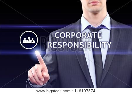 business, technology and networking concept - businessman pressing corporate responsibility button o