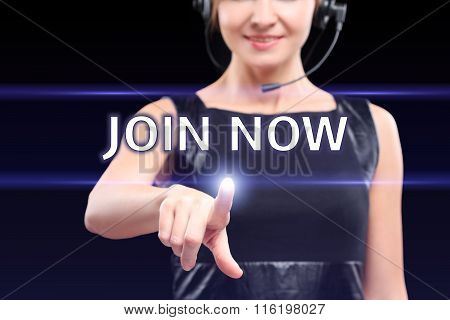 businesswoman,  hand pressing join now button on virtual screens, business concept.