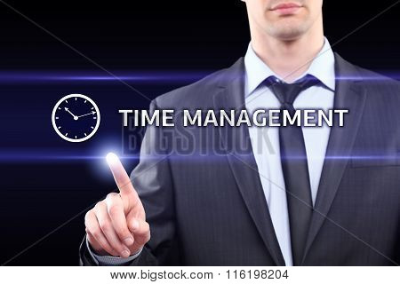business, technology, networking concept - businessman pressing time management button on virtual sc