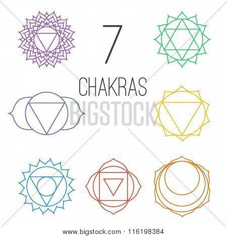 Set of seven colorful chakras. Linear character illustration of Hinduism and Buddhism. For design associated with yoga and India.