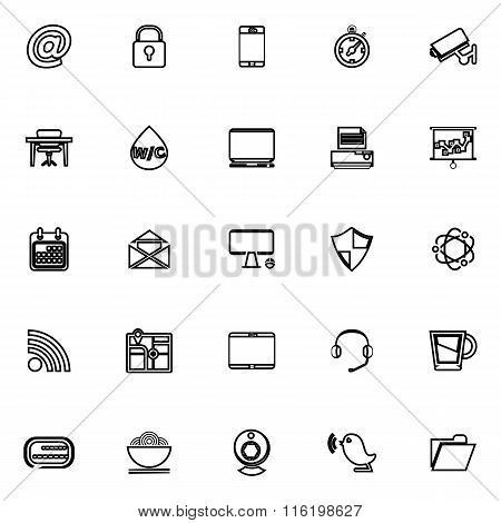 Internet Cafe Line Icons On White Background