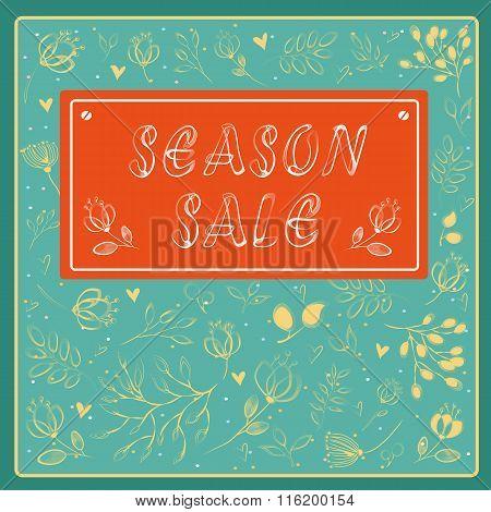 Season Sale Inscription With Floral Background
