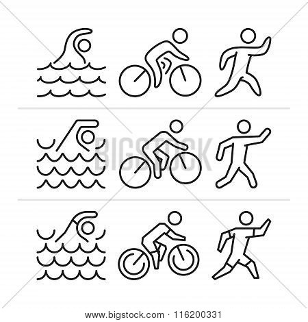 Vector Linear And Flat Triathlon Logo And Icons.