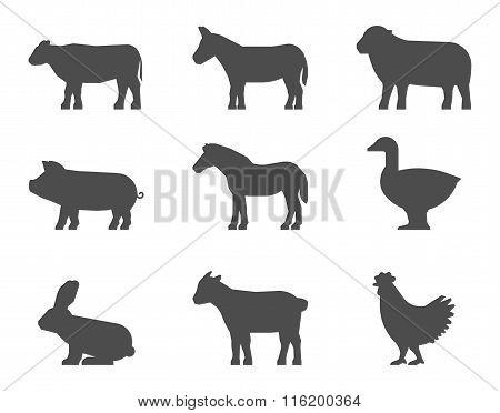Black Set Of Farm Animal Silhouettes On A White Background.