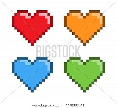 Vector Pixel Art Red Heart For Games.