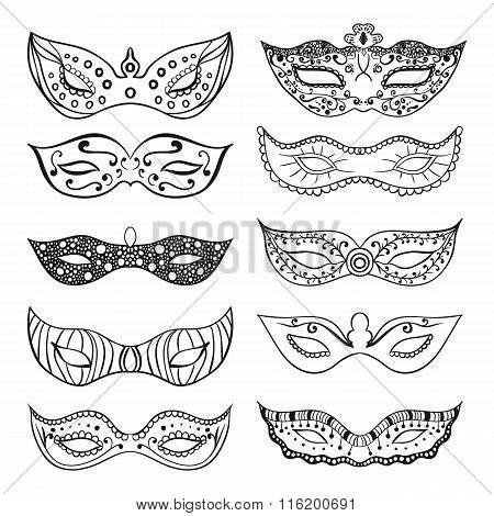 Set of isolated festive black hand drawn mask silhouette on the white background. Great elements for carnival party invitation or card. Mardi Gras masks.