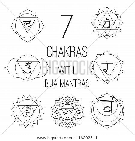 The Seven Chakras With Bija Mantras Set Style On The White Background. For Design, Associated With Y