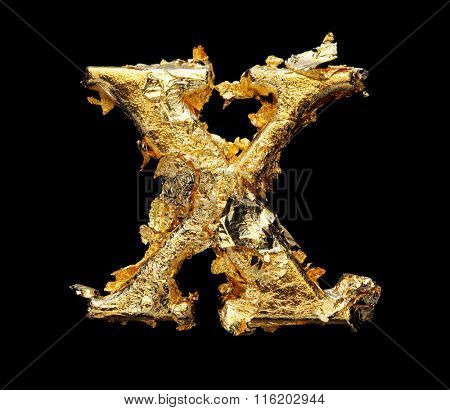 Alphabet and numbers in rough gold leaf isolated on black