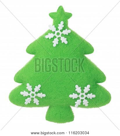 Christmas Tree With Snowflakes Fabric Decoration On The Tree